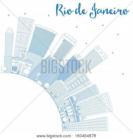 Outline Rio de Janeiro Skyline with Blue Buildings and Copy Space. Vector Illustration. Business Travel and Tourism Concept with Modern Architecture. Image for Presentation Banner Placard.