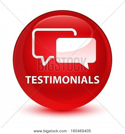 Testimonials Glassy Red Round Button