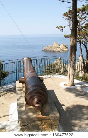 Old cannon Admiral Ushakov in island Corfu. Greece
