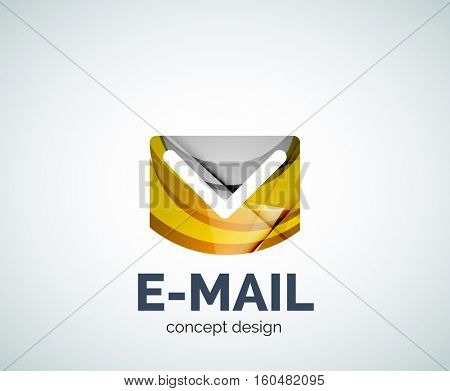 E-mail logo business branding icon, created with color overlapping elements. Glossy abstract geometric style, single logotype