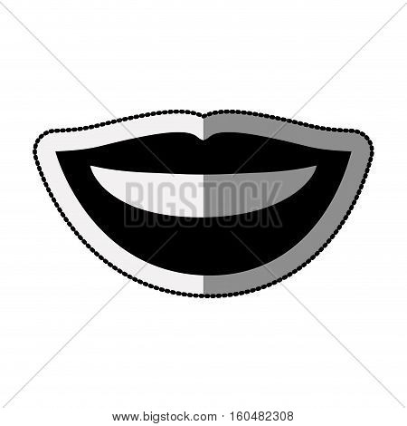 Female mouth cartoon icon. Lips expression character and caricature theme. Isolated design. Vector illustration
