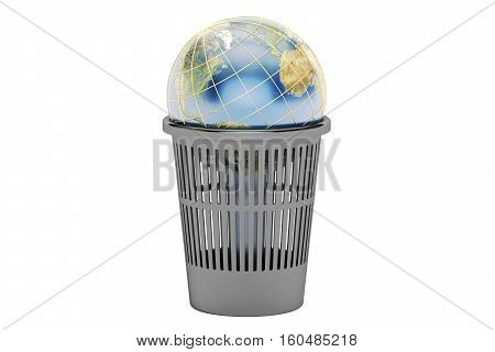 Trash bin with Earth globe 3D rendering isolated on white background