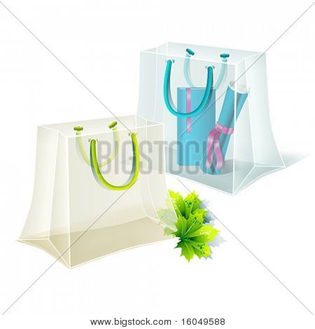 Transparent shopping bags. Vector.