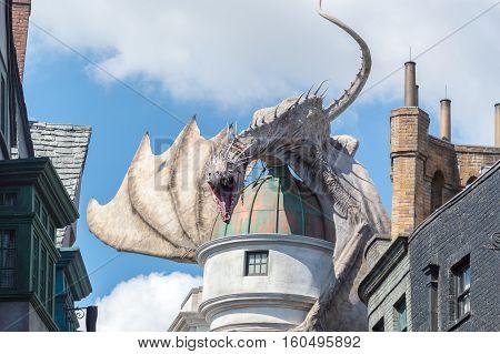 ORLANDO USA - NOVEMBER 1 2016: Gringotts Bank Dragon. The Wizarding World Of Harry Potter at Universal Studios Orlando. Universal Studios Orlando is a theme park resort in Orlando Florida USA