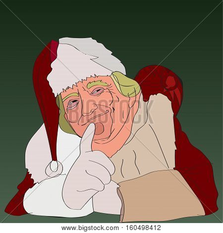 07 DEC, 2016. US President Donald Trump Funny Christmas Portrait. Hand-drawing Donald Trump Greeting Card Vector Cartoon Caricature. Donald Trump as a witty Santa Claus.