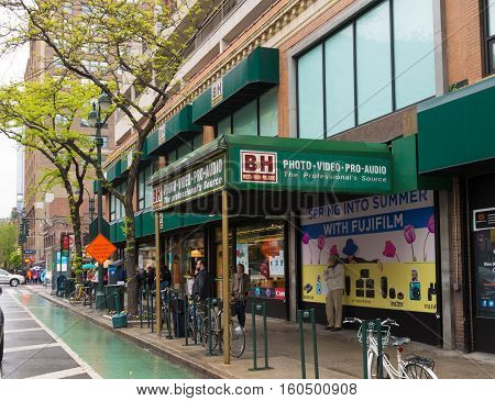 NEW YORK CITY - MAY 1 2016: Exterior of the wellknown B&H photo video store in New York City. It is the largest non-chain photo and video equipment store in the United States