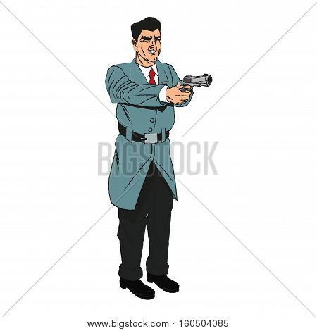 Man cartoon with gun icon. Comic character and caricature theme. Isolated design. Vector illustration