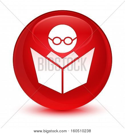 Elearning icon isolated on abstract glassy red round button