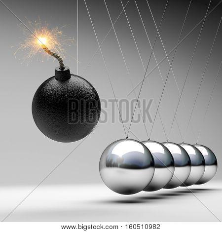 bomb newton cradle 3d rendering