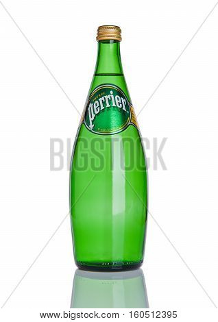 LONDON UK - DECEMBER 06 2016: Bottle of Perrier sparkling water. Perrier is a French brand of natural bottled mineral water sold worldwide.
