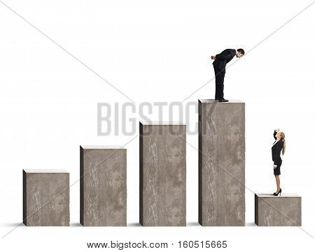 Businessman looks at a businesswoman in the lowest step of the statistical