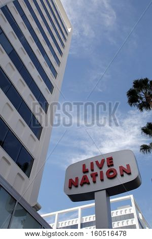 LOS ANGELES, SATURDAY, NOVEMBER 19, 2016: A general view of the offices of Live Nation in Los Angeles. Live Nation Entertainment is the largest live entertainment company.
