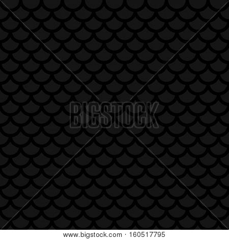 Fish scale. Black Neutral Seamless Pattern for Modern Design in Flat Style. Tileable Geometric Vector Background.