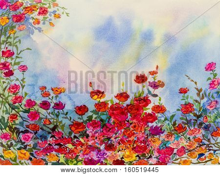 Abstract watercolor original landscape painting imagination colorful of roese flowers and emotion in blue background