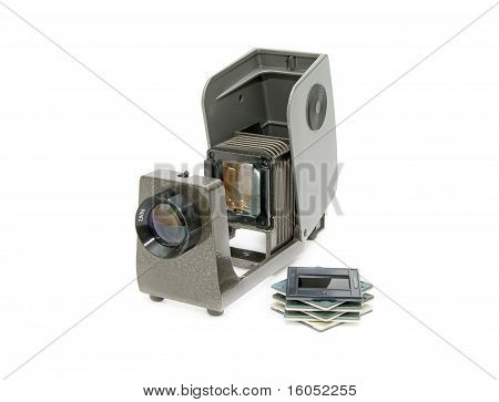 Old Device For Viewing Slides On A White Background.