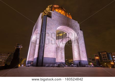 Mexico City, Mexico - July 6, 2013: Sculptures of the Monument to the Mexican Revolution (Monumento a la Revolucion Mexicana). Built in Republic Square in Mexico City in 1936.
