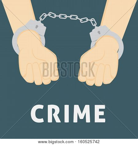 Flat Design of People With Handcuffed Hand