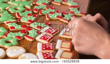 decoration sweet cookies icing, christmas gingerbread decoration