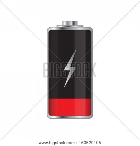 Low battery illustration on a white background