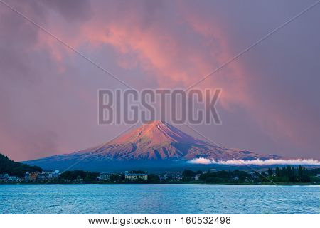 Mt Fuji Morning Sunrise Sky Kawaguchi Lake Hotels