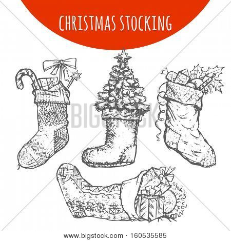 Christmas stocking sock decoration with gifts sketch. Hand drawn pencil drawing elements of Christmas pine, fir tree branches cones, candy, holly wreath bow balls for vector Christmas, New Year design