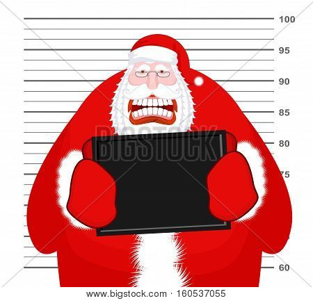 Mugshot Santa Claus At Police Department. Mug Shot Christmas. Arrested Bad Santa Holding Black Plate