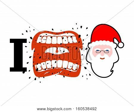 I Hate Christmas. Shout Symbol Of Hatred Face Santa Claus. Aggressive Open Mouth. Yelling And Cursin