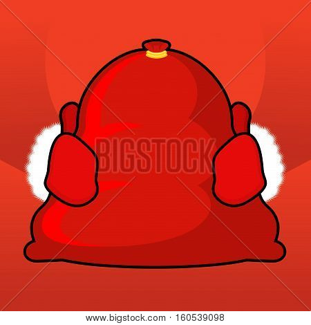 Santa Bag And Red Mittens. Big Sack With Gifts. Giving Gifts At Christmas. New Year Illustration. Xm