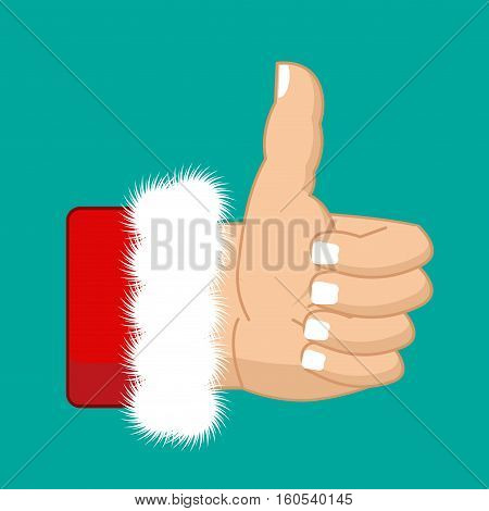 Christmas Like Santa Claus. Thumb Up. Symbol All Right. Success Gesture.