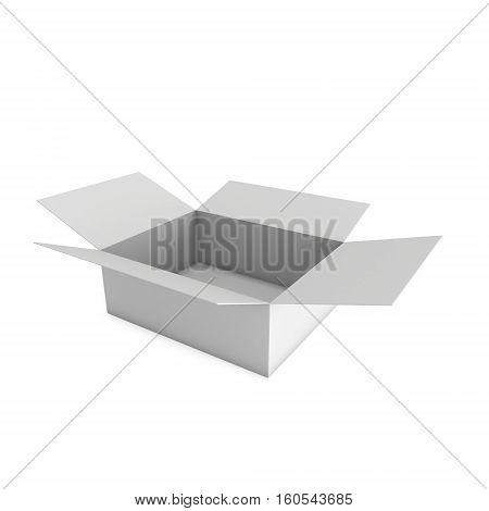 Open box. 3d render illustration isolated on white. Transportation concept.