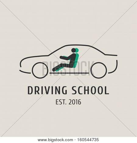 Driving school vector logo sign symbol emblem. Car silhouette design element concept illustration for driving lessons obtain company