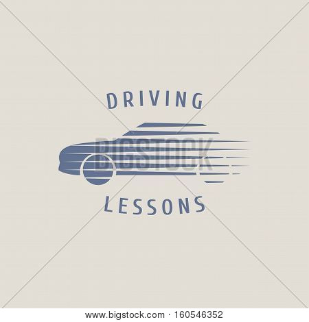 Automobile driving school vector logo sign emblem. Silhouette of car graphic design element. Driving lessons concept illustration insignia sticker banner