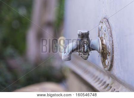 Old Steel Faucet, Tap, Rust On Steel.