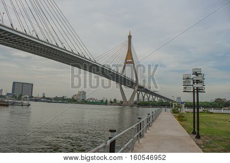 Bhumibol Bridge or Bridge of Industrial Rings is concrete highway overpass and cross the Chao Phraya River, Thailand. Foreign text on the bridge is the name