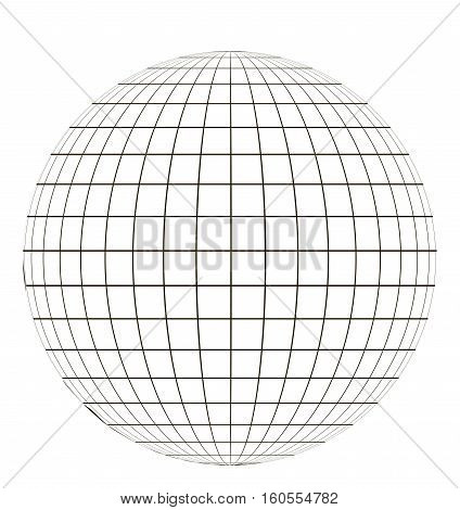 globe with a coordinate grid, latitude and longitude on a sphere pattern globe angering the application of the coordinate vector template