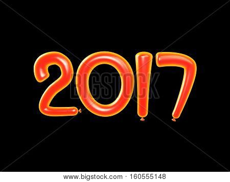 2017 Happy new year balloons. Happy New Year background with orange number ballons. Isolated on black. 3D illustration