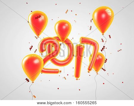 2017 Happy new year balloons. Happy New Year background with orange number ballons with confetti. 3D illustration