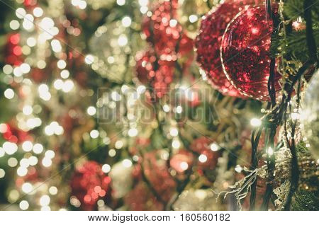 Christmas decoration background with shimmering lights selective focus