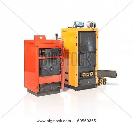 Two solid fuel boilers. Isolated on white background. 3d illustration