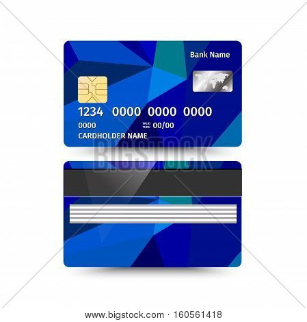 Vector illustration of Credit Card two sides with Abstract Polygon design on white background. Blue sample