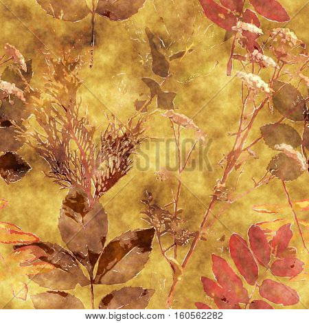 art vintage watercolor floral seamless pattern with monochrome brown and orange red leaves and grasses on old gold background