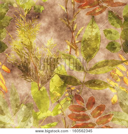 art vintage watercolor floral seamless pattern with green and brown leaves and grasses on background