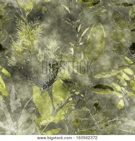 art vintage watercolor floral seamless pattern with monochrome green  leaves and grasses on dark background