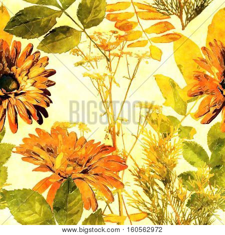 art vintage watercolor floral seamless pattern with orange and green asters, leaves and grasses on white background
