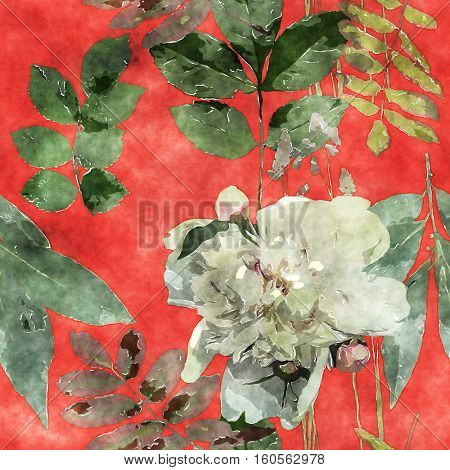art vintage watercolor floral seamless pattern with white roses, peonies, leaves and grasses on red background