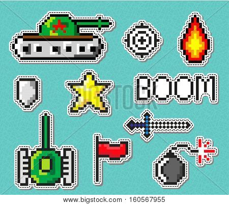 Pixel art vector objects to create Fashion patch. Badges with tanks, star, bomb, boom for boys. Set of stickers, pins, patches in trendy 80s-90s pixel art style