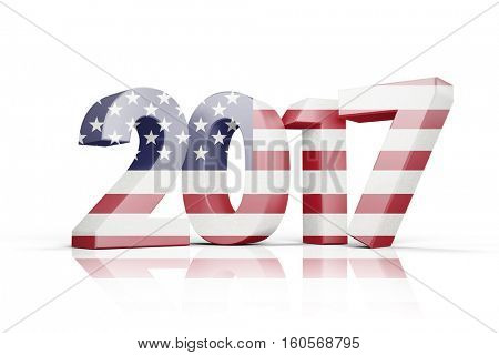 Usa national flag against illustration of new year number