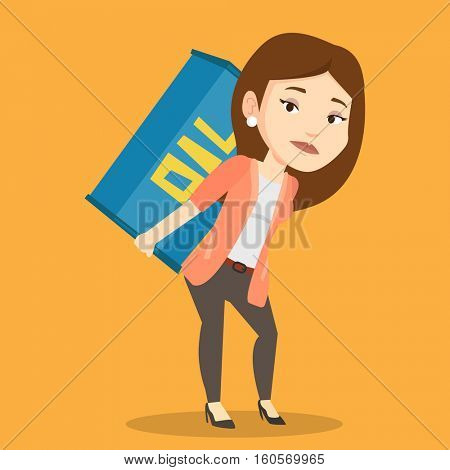 Caucasian worker of oil industry carrying barrel on her back. Female worker walking with oil barrel on her back. Female worker holding heavy oil barrel. Vector flat design illustration. Square layout.