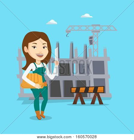 Young caucasian engineer with a blueprint at construction site. Engineer holding hard hat and twisted blueprint. Engineer checking construction works. Vector flat design illustration. Square layout.