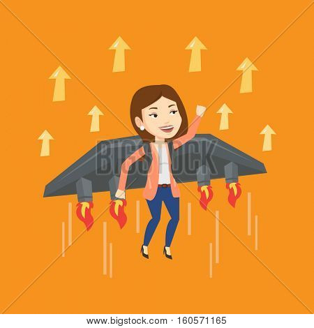 Young happy business woman flying on the business start up rocket. Caucasian businessman flying with a jet backpack. Business start up concept. Vector flat design illustration. Square layout.